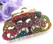 Fit long Hair New Vintage Multi-colour. Crystal Retro Copper Hair Claw Clip 812