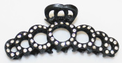 Large 10cm Black Metal Hair Claw with Clear Crystals