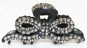 Approximately 8.9cm Metal Hair Claw Ribbon with Hematite Crystals