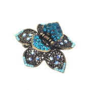 Antique Brass Rhinestone Small Floral Hair Claw Blue