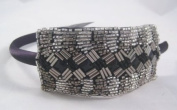 New Glitzy Bling Silver & Black Headband