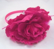 New Large Fuscia 13cm Flower Headband with Feathers