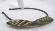 New Metal Bow Headband with Goldtone Round Ball Studs