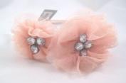 New Peach Flower Headband with Rhinestone Crystals