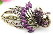 Lovely Vintage Jewellery Crystal Purple Peacock Hair Clips - for hair clip Beauty Tools