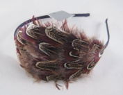New Large Brown Feather Fascinator Headband