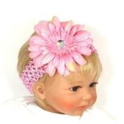 YKS Baby Girl child baby soft infant youth accessory toddler apparel head hair band Crystal Daisy Jewel Gerbera Flower bow bows Hair Clip + Crochet Headband Set