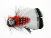 Hat Décor Embellishment, 12705 Turkey/Guinea Feather Hat Decor Pin