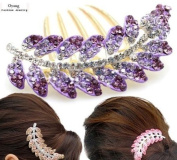 Oyang Fashion Purple Leaves Jewellery Crystal Hair Clips Hairpin- for hair clip hairpins Beauty Tools