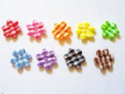 100 Pcs Small Gingham Flower Padded Appliques Mix Colour Size 10 Mm