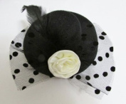 Pretty mini hat style clip with feather --- Black By Pixiheart