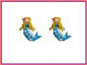 2pc Set Blue Mermaid Hair Bow Clips