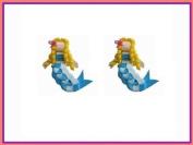 2pc Set Blue Mermaid Hair Bow Clips
