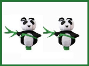 2pc Set Panda Hair Bow Clips