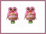 2pc Set Pink Boutique Owl Hair Bow Clips