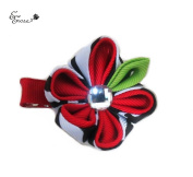 Baby Girls Petite Handmade Japanese Style Kanzashi Flower Hair Clips Accesories with Crystal Accent (You Pick!) Pink White Black Brown Red White Green