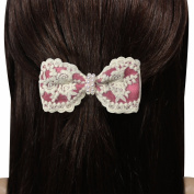 Triple Rose Lace Faux Pearl Bow Hair Clip - Various Colours