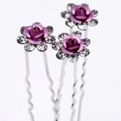 10pcs 9 Colours White,red,purple,blue,black,coffee,pink,navy Blue,dark Purple Rose Flower Crystal Rhinestone Women's Accessory Hairpin