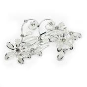 RHX Wedding Bride Silver Plated Rhinestone Flower Crystal Hair Clip Dual Comb Chic