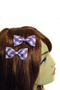 Purple Plaid Mini Hair Bow Set of 2