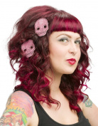 Sourpuss Glitter Skull Hair Clips Pink