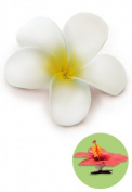 Isle Heritage Hair Clip Foam Flower Plumeria White & Yellow