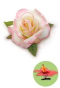 Isle Heritage Hair Clip Silk Flower Rose White & Pink