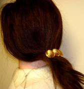 Three Gold Plated Buttons on French Hair Clip for Women and Teens