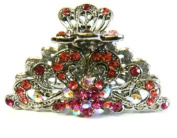Top Quality Womens Rhinestone Large Metal Claw Hair Clip Antique Silver 6 Colours