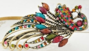 Autofor Colourful Retro Vintage Bling Crystal Peacock Style Hairpin Hair Clip For Girls Teenagers Girlfriends Ladys Gift