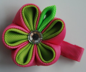 Grosgrain Ribbon Flower Hair Clip - Tsumami Kanzashi Style