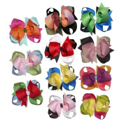 Janecrafts Cute 7.6cm Flower Loop Grosgrain Hair Bow Clips 11pcs Assorted 11 Colour-Perfect for Babys, Girls, Toddlers