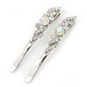 Pair Of Clear/ AB Crystal Bridal Hair Slides In Rhodium Plating - 60mm Length