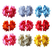 Janecrafts Cute 11cm Solid Stacked Spike Grosgrain Hair Bow Clips Assorted 9pcs in 9 Colour-Perfect for Babys, Girls, Toddlers