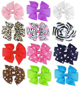 "HipGirl Boutique Girls 12pc Set 4""-11cm Large Grosgrain Ribbon Pinwheel Hair Bow Clips, Barrettes-One Size"
