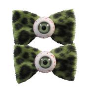 Kreepsville 666 Eyeball Hairbow Slides Green Leopard