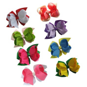 Janecrafts Cute 10cm Solid Layered Boutique Chunky Grosgrain Hair Bow Clips 10pcs Assorted 10 Colour-Perfect for Babys, Girls, Toddlers