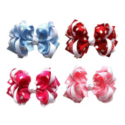 Janecrafts 10cm Funky Spike Grosgrain Hair Bows Clips 12pcs Assorted 6 Colour-Perfect for Babys, Girls,Toddlers