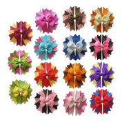Janecrafts Cute 11cm Spike Pinwheel Grosgrain Hair Bow Clips 15pcs Assorted 15 Colour-Perfect for Babys, Girls, Toddlers