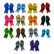 Janecrafts 10cm Tails Down Solid Grosgrain Cheer Bows/Cheerleading 14pcs Mixed in 14 Colour-Perfect for Babys.Girls,Toddlers