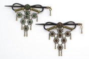 2 Pcs Handmade Green Brown Faux Leather Hair Barrette Wood Stick Pin