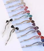 Fashion Hair Accessory ~ Multi Colours Rhinestones Bow Hair Clip Set of 12