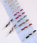 Fashion Hair Accessory ~ Multi Colours Rhinestones Hair Clip Set of 12