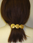 Three Gold Plated Buttons on French Barrette Hair Clip for Women and Teens