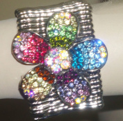 Multicolor Large Simulated Sparkling Jades on Genuine Silver Plated Bracelet for Teens