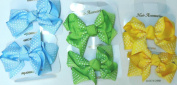 Sj.151, Set of Six Multicolor Polka Dot Ribbon Hair Bow Clip on French Barrette for Women and Teens