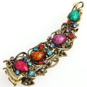 Multicolor Rectangle Metal Banana Rhinestone Hair Clip Barrette Clamp 11cm