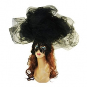 Large Black Cloud Hat Hair Clip Lace Mask Halloween Costume Drag Queen Accessory