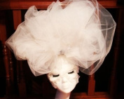 White Large Cloud Hat Hair Clip Lace Mask Halloween Costume Drag Queen Accessory