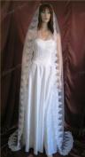 Wedding Veil Bridal 1T Diamond Off White 100âEUR Cathedral Rose Mantilla Lace Trim